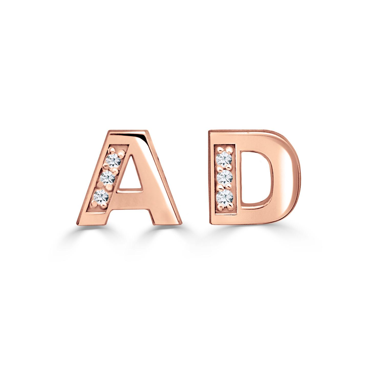 9a0bd1f8b Diamond Accent 6.0mm Block Initial Stud Earrings (2 Initials ...