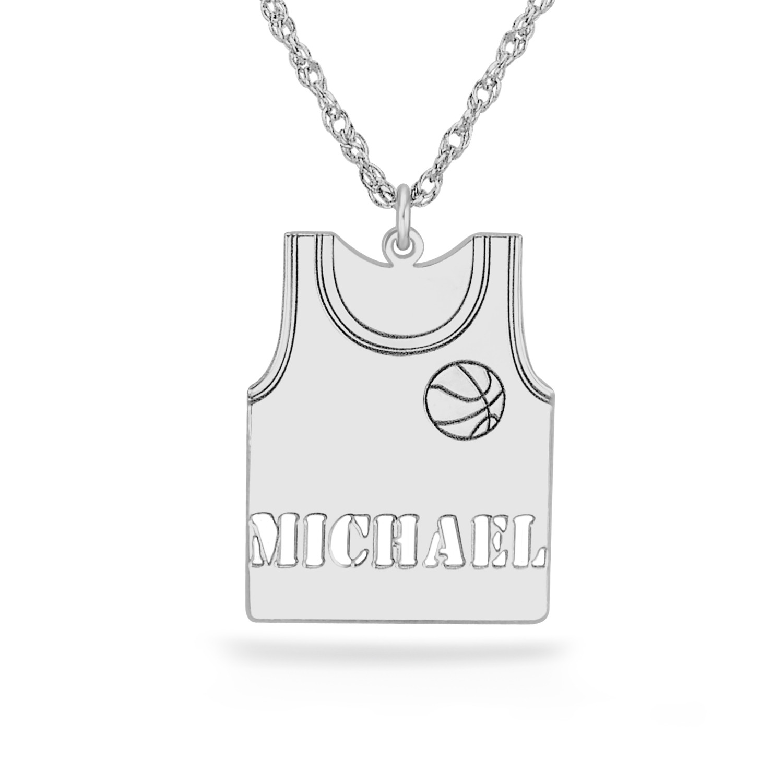 Silver 23 x 17mm Personalized Basketball Jersey Pendant