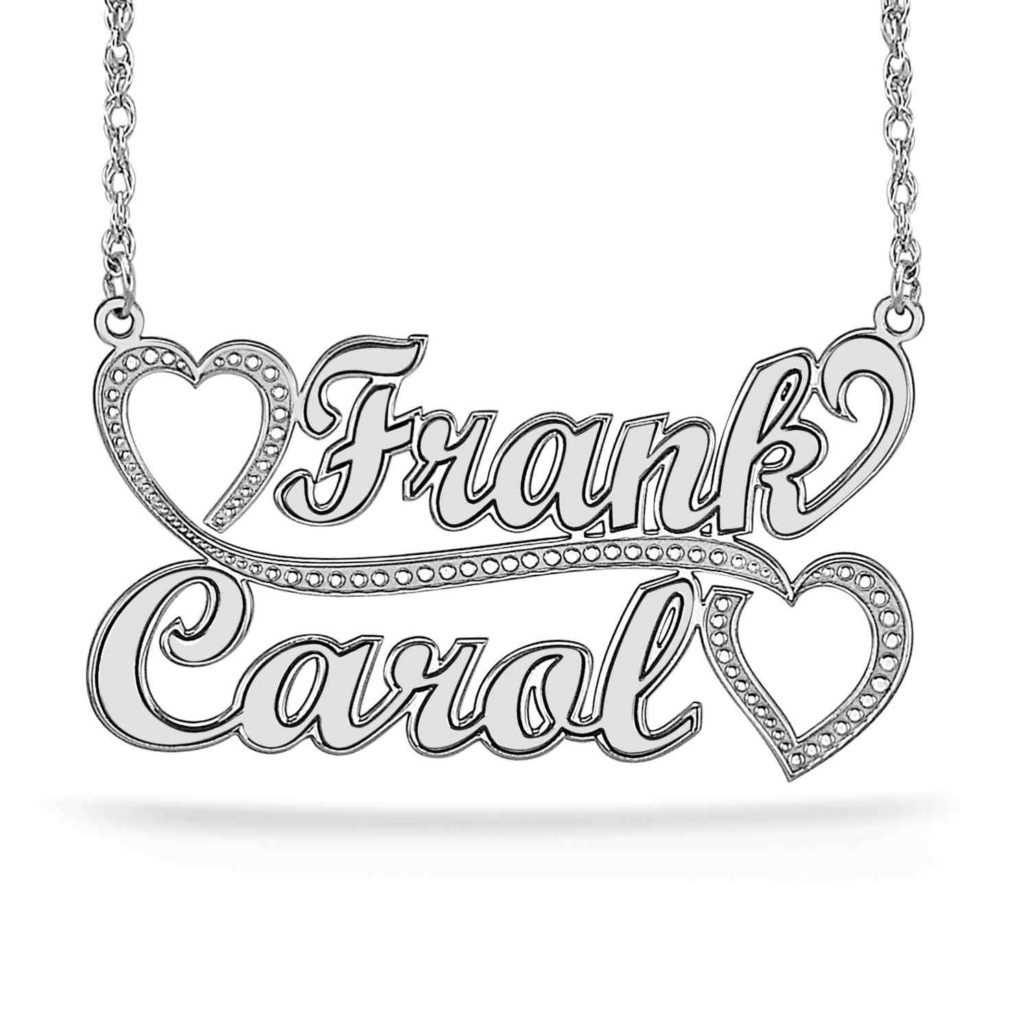 Silver Personalized Couples Names Necklace