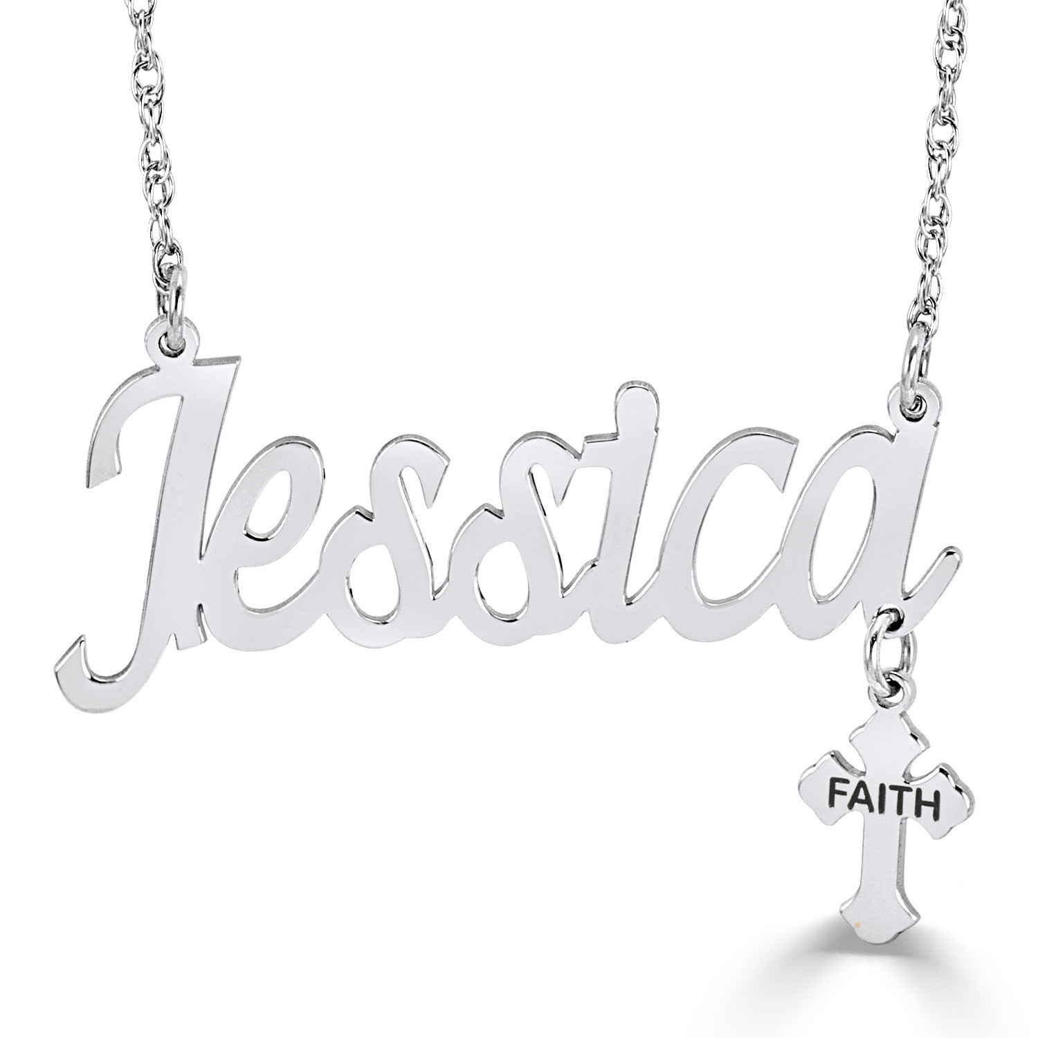 Name with Cross Charm Necklace (10 Line)Zales