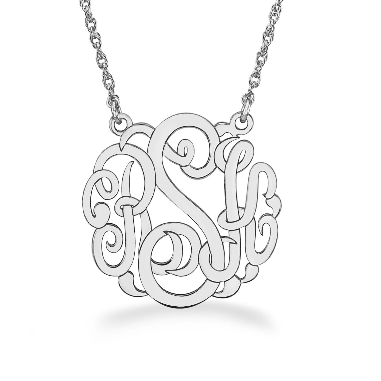 Silver 25mm Personalized Script Monogram Necklace