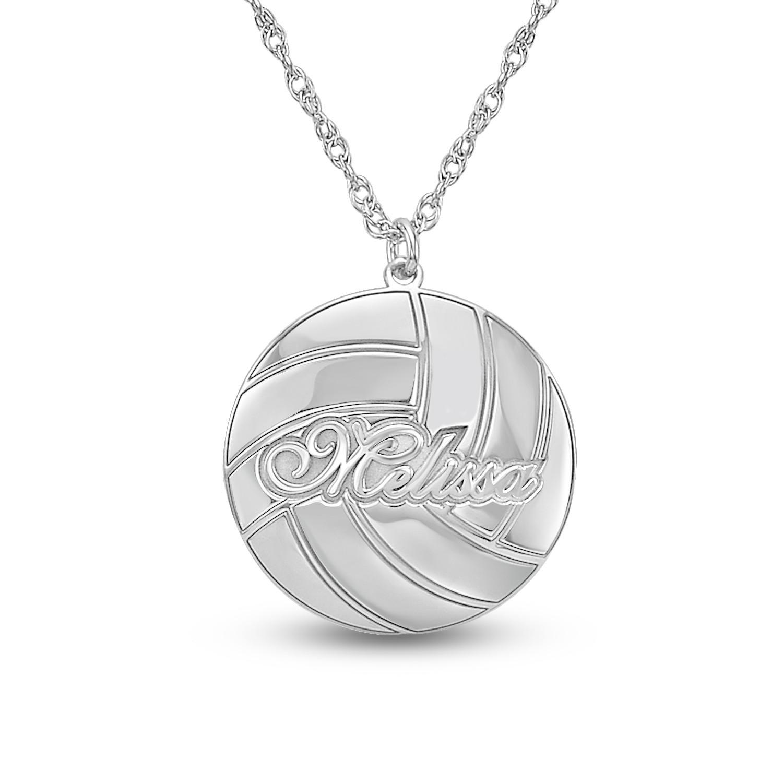 Custom Volleyball Necklace Beach Volleyball Necklace Silver Monogram Volleyball Necklace Team Necklace