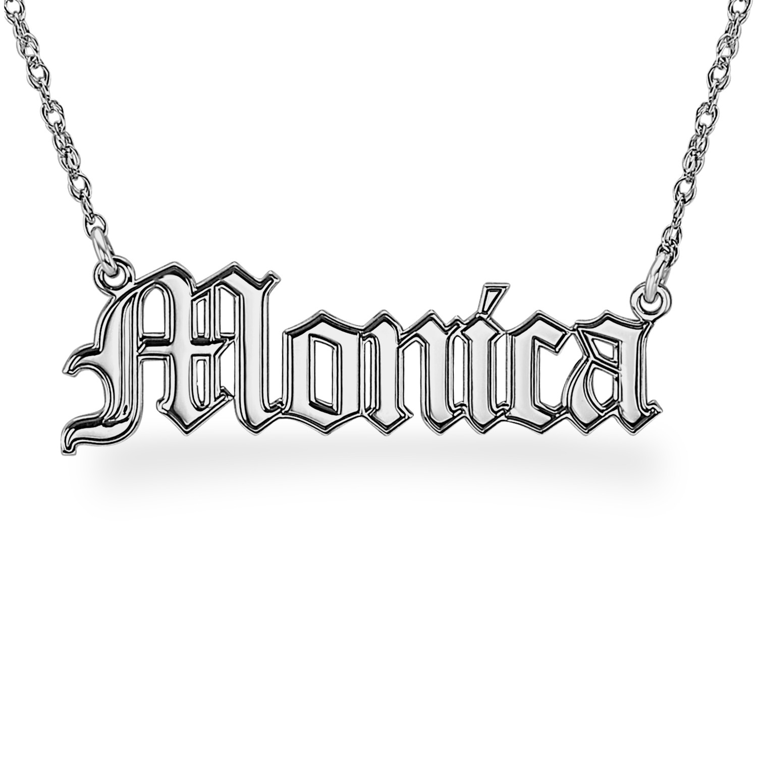 Silver Personalized Hi Polish Gothic Name Necklace