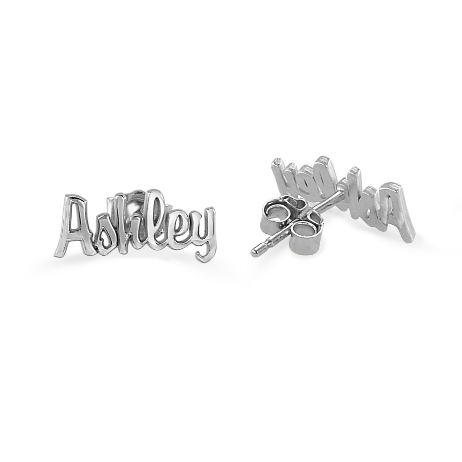 Silver Personalized Script Name Earrings