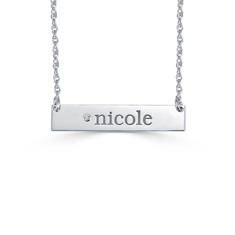 276ed6fd3cd28 Diamond Accent Engravable Bar Name Necklace (1 Line)|Zales