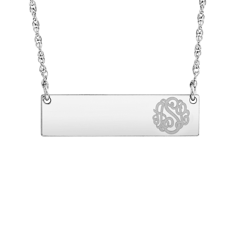 Silver 8 x 30mm Personalized Script Monogram Bar Necklace