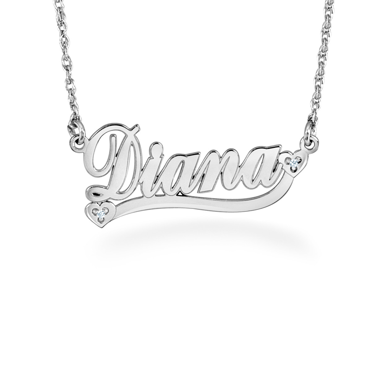 00a8215b8 Diamond Accent Cursive Name with Hearts and Ribbon Necklace (1 Line) |  Personalized Necklaces | Create Your Own | Zales