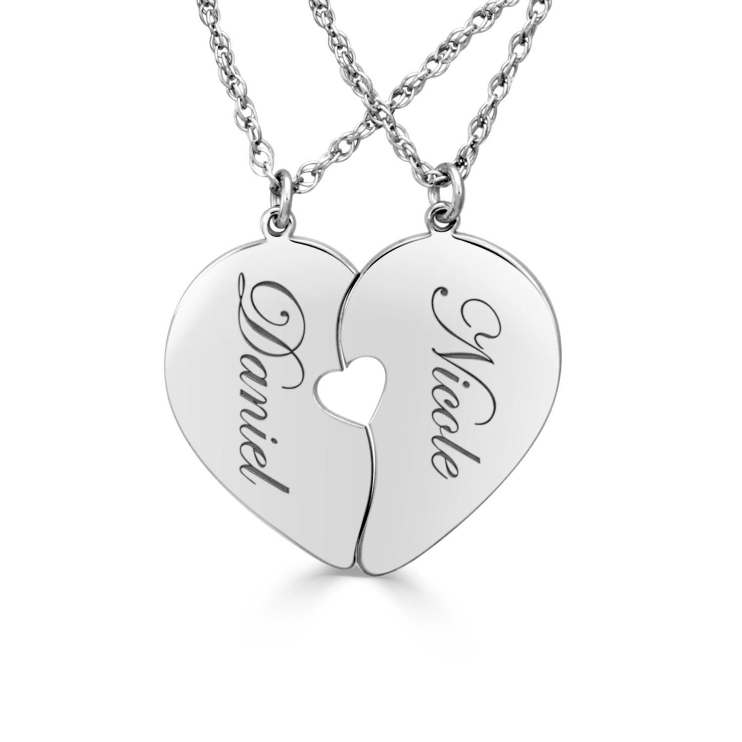 Engraved with Sterling Silver Necklace Heart Personalized Name Necklaces for your love