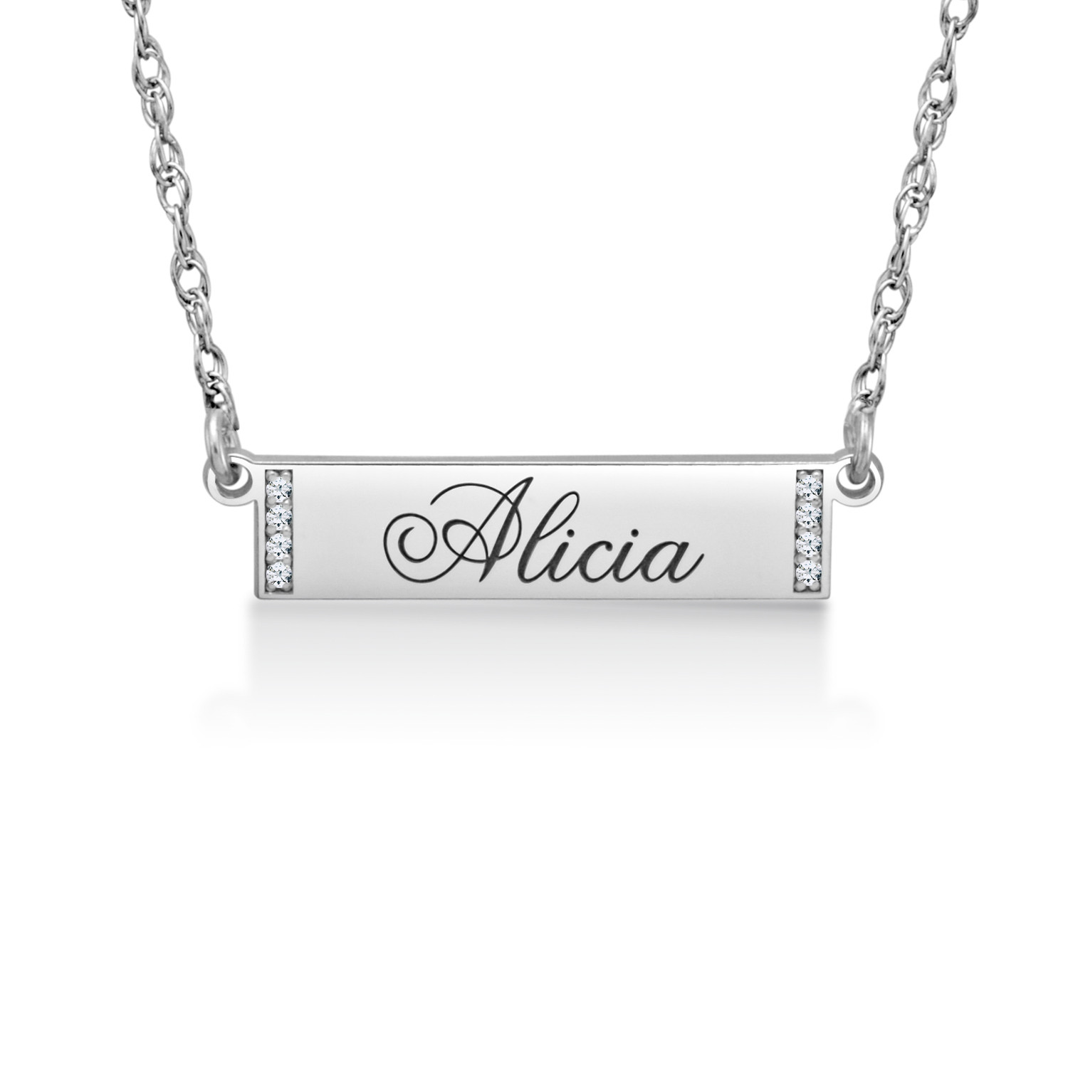 Silver Personalized 6 x 24mm Diamond Accent Bar Necklace