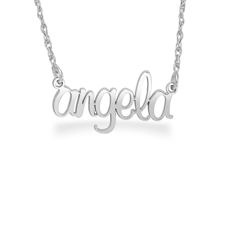 Silver Personalized Hi Polish Script Name Necklace
