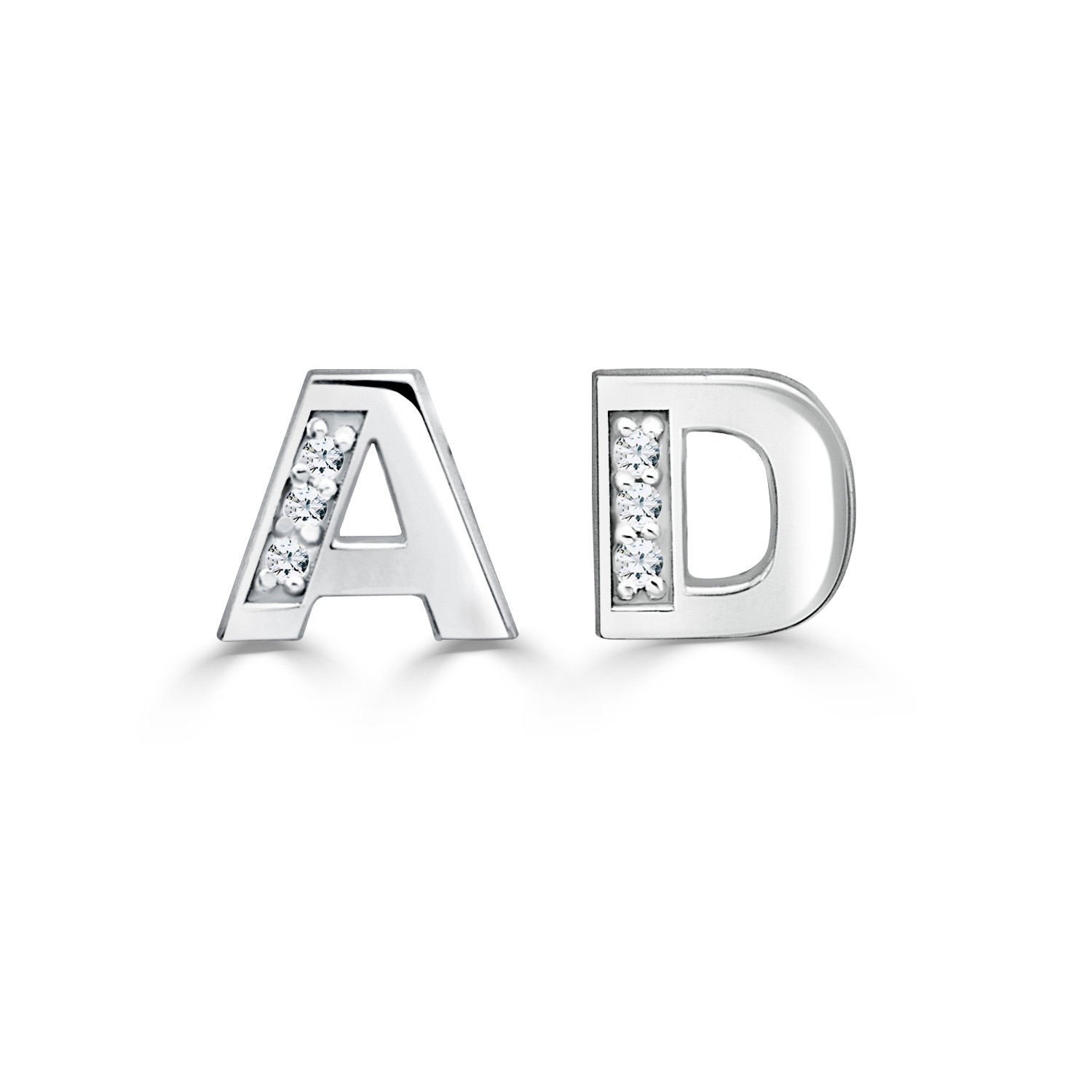 0188e94ad Diamond Accent 6.0mm Block Initial Stud Earrings (2 Initials)    Personalized Earrings   Create Your Own   Zales