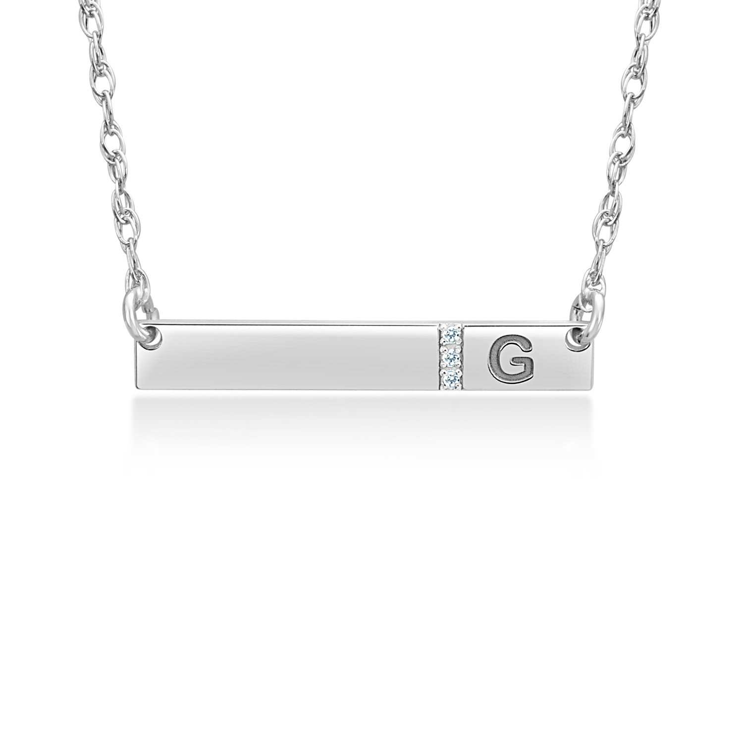 Silver Personalized 4 x 27mm Diamond Accent Bar Necklace