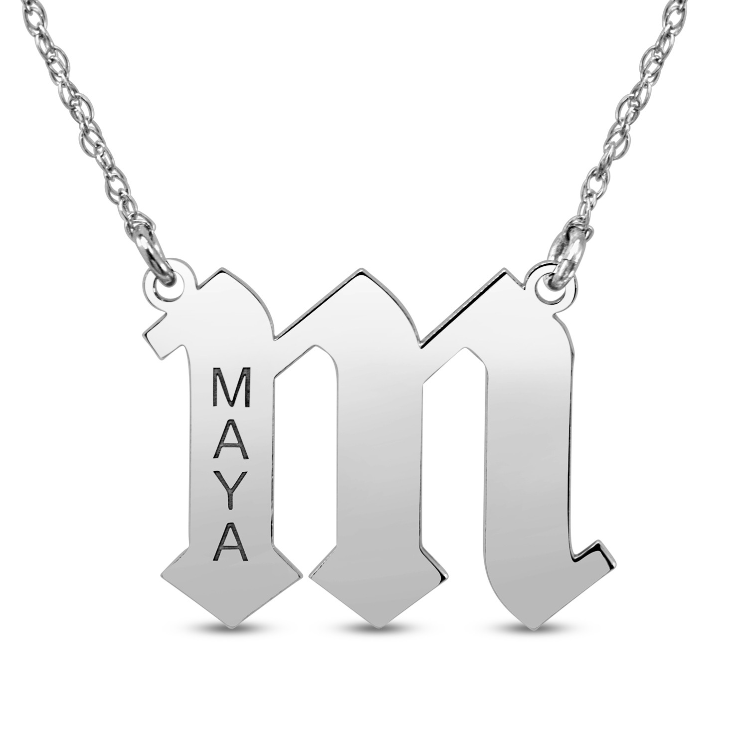 HI Polish Name Pers Necklace - 1 initial, 1 all UPPERCASE 9 letter max engraving (Example: m, MAYA 17.48mm x 22.77mm)