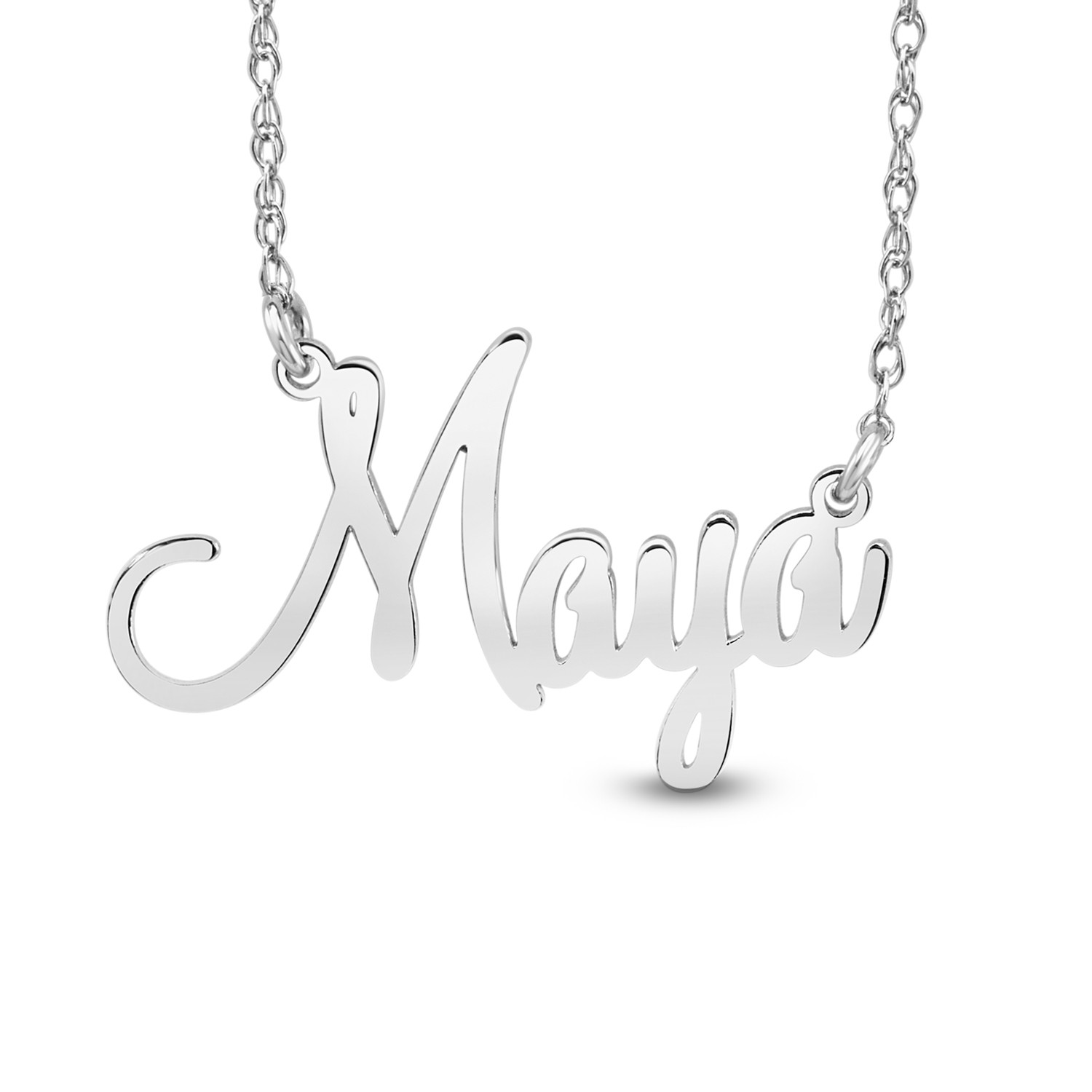 """HI Polish Name Pers Necklace - 9 letter max 1 Uppercase letter (Example: Stephanie S=10.10mm x 1.25"""" e=4.45mm)"""