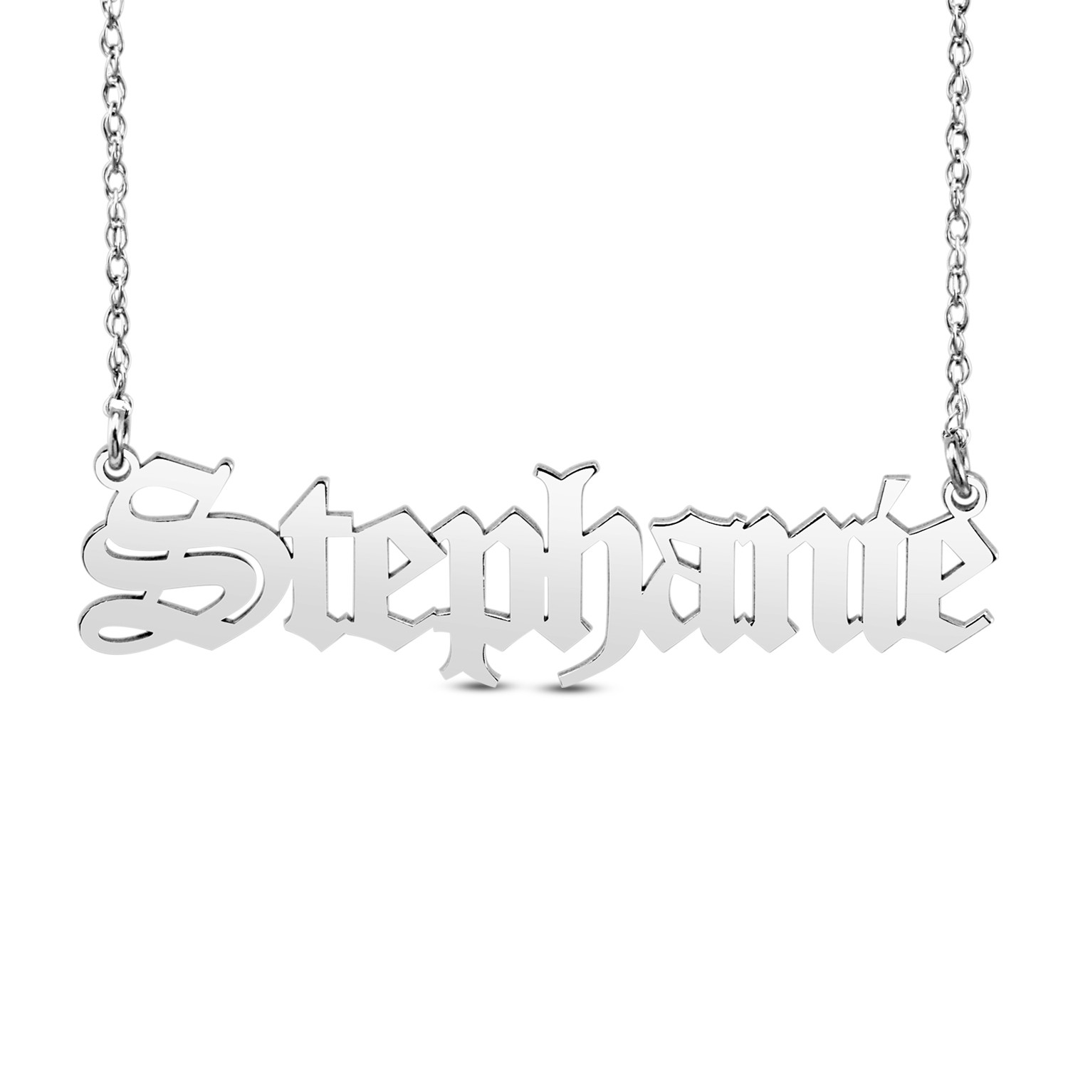 """HI Polish Name Pers Necklace - 9 letter max 1 Uppercase letter (Example: Stephanie S=8.02mm x 1.84"""" e=6.77mm)"""