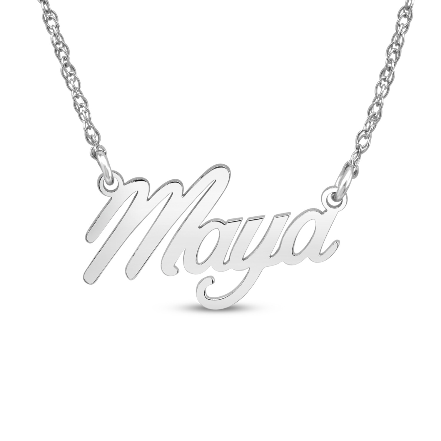 """HI Polish Name Pers Necklace - 9 letter max 1 Uppercase letter (Example: Stephanie S=9.84mm x 1.47"""" e=4.82mm)"""